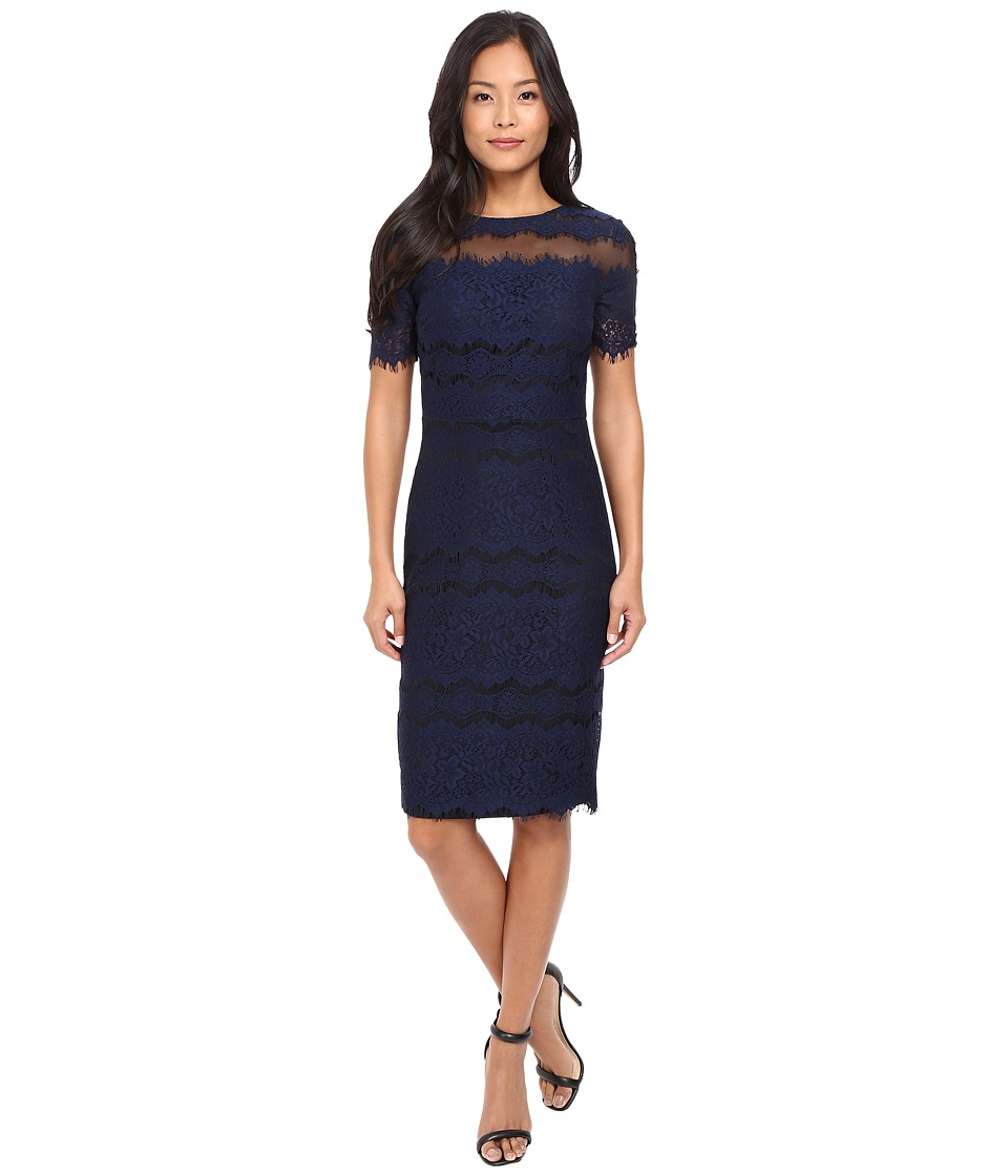 Sangria - Short Sleeve Textured Lace Sheath (Dusk) Women's Dress