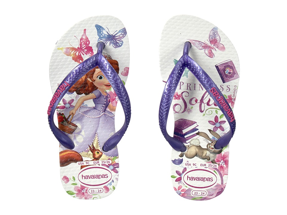 Havaianas Kids - Slim Princess Sofia Flip Flops (Toddler/Little Kid/Big Kid) (White) Girls Shoes