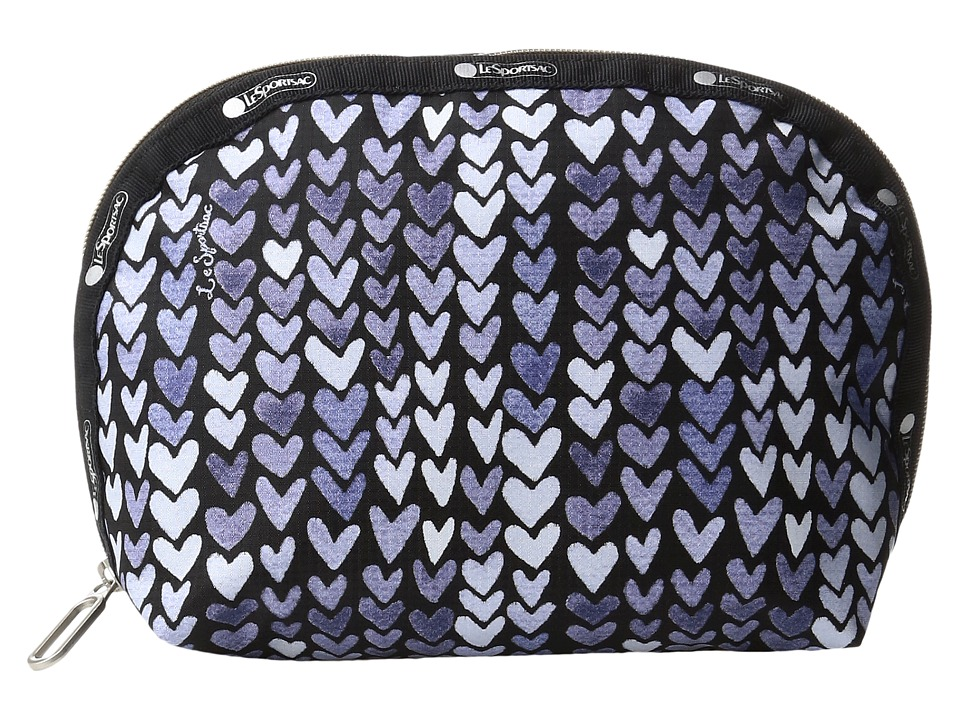 LeSportsac - Half Moon Cosmetic (Painted Hearts Blue) Cosmetic Case