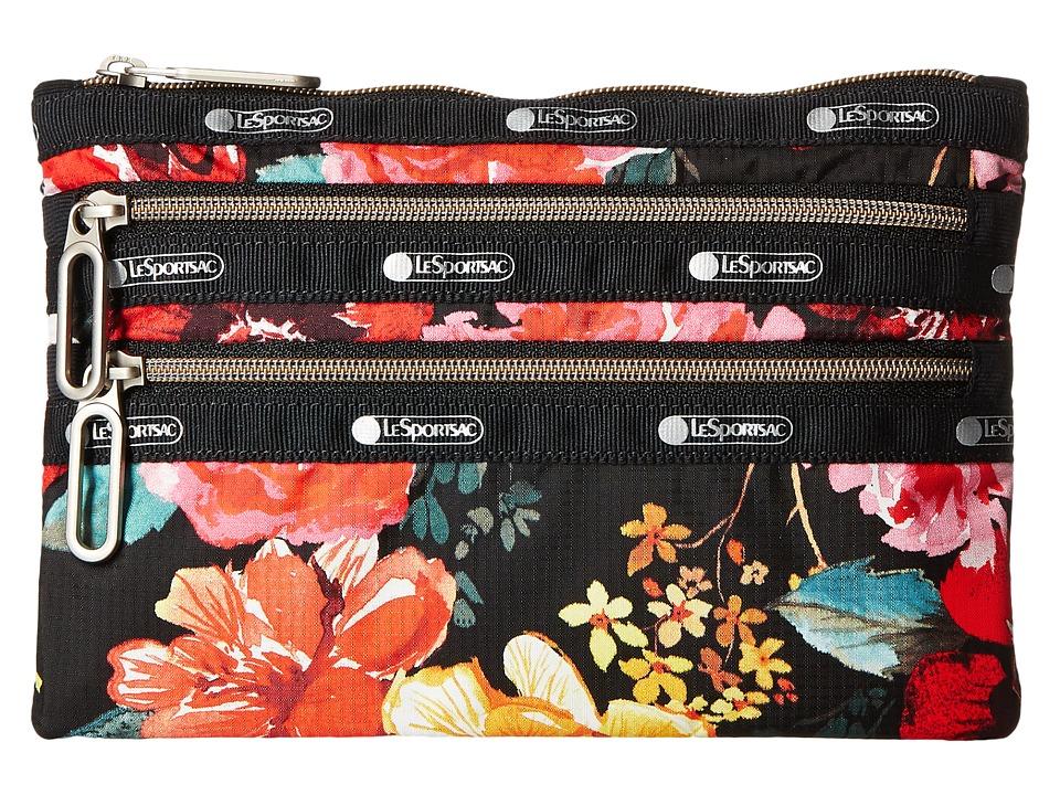 LeSportsac - Classic 3 Zip Pouch (Romantics Black) Bags