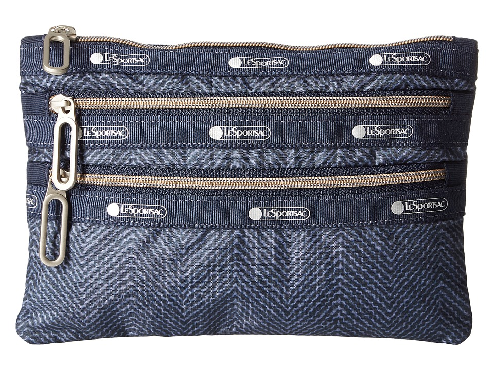 LeSportsac - Classic 3 Zip Pouch (Herringbone Blue) Bags
