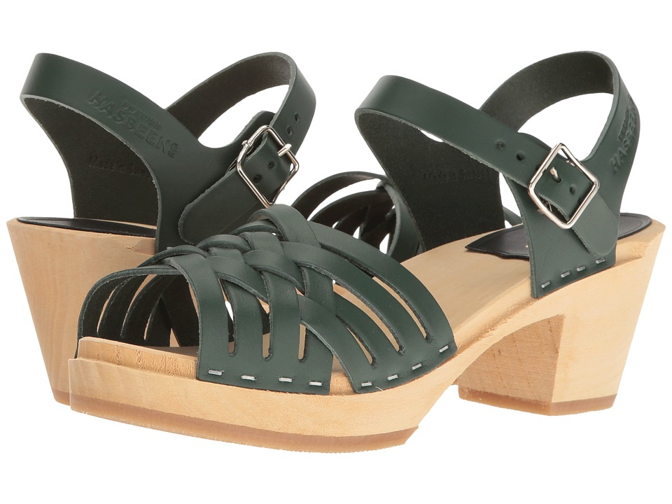 Swedish Hasbeens - Braided High (Deep Green) Women's Clog/Mule Shoes