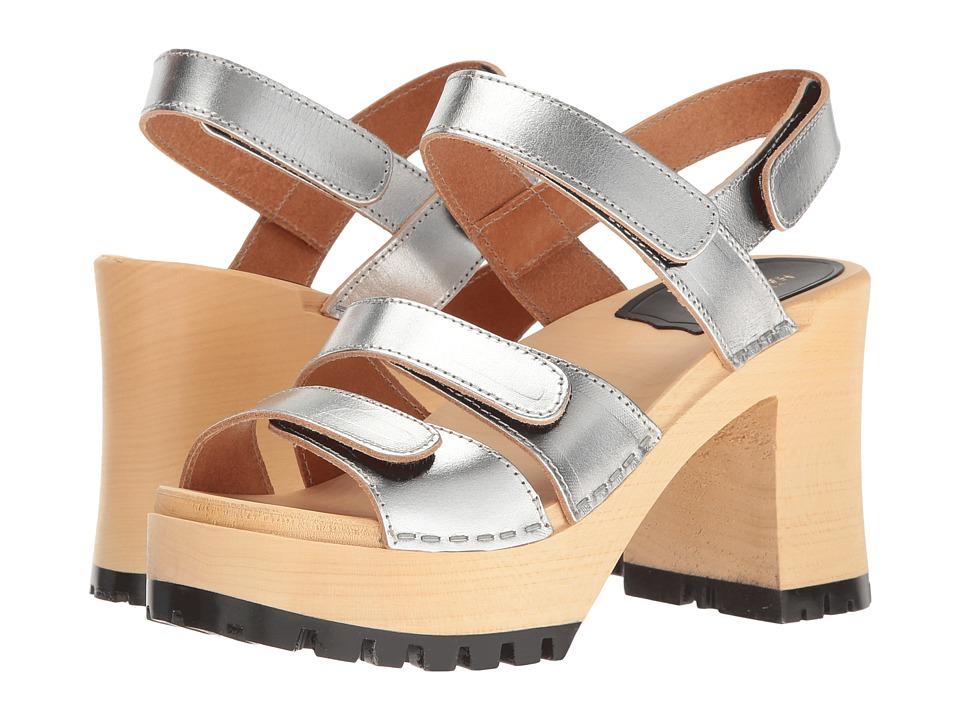 Swedish Hasbeens Velcra (Silver) High Heels