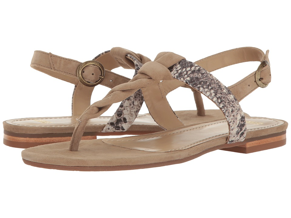Johnston & Murphy - Holly (Taupe Kid Suede/Natural Snake Print Leather) Women's Sandals