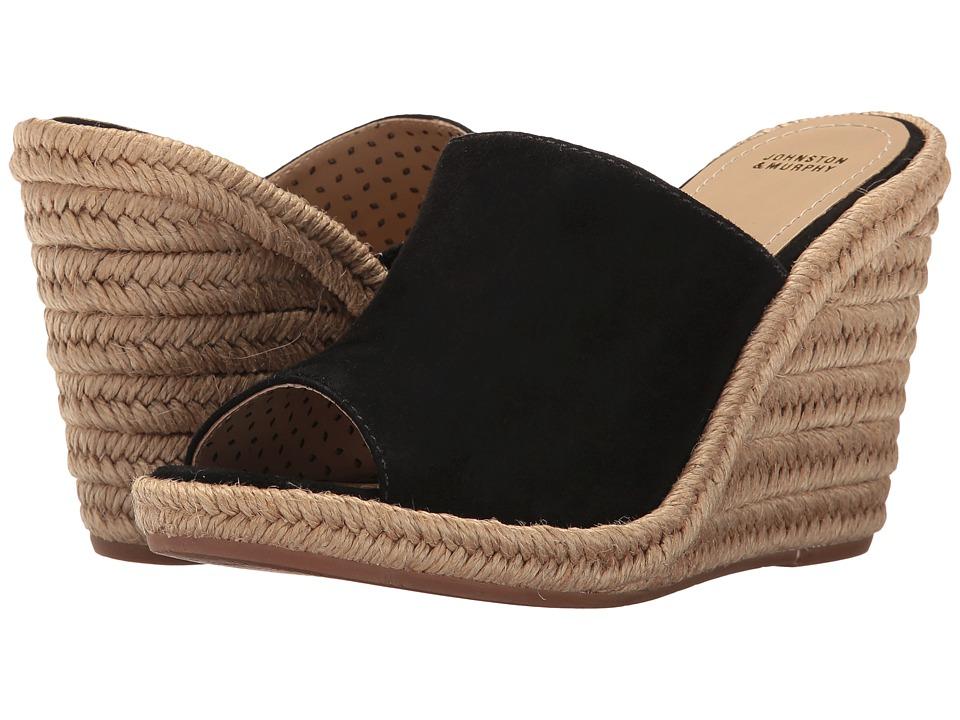 Johnston & Murphy - Myrah (Black Kid Suede) Women's Wedge Shoes