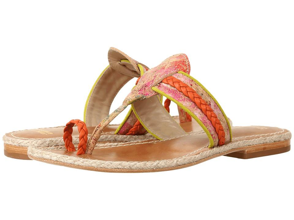 Johnston & Murphy - Wendy (Orange/Kiwi Nappa/Floral Print) Women's Sandals