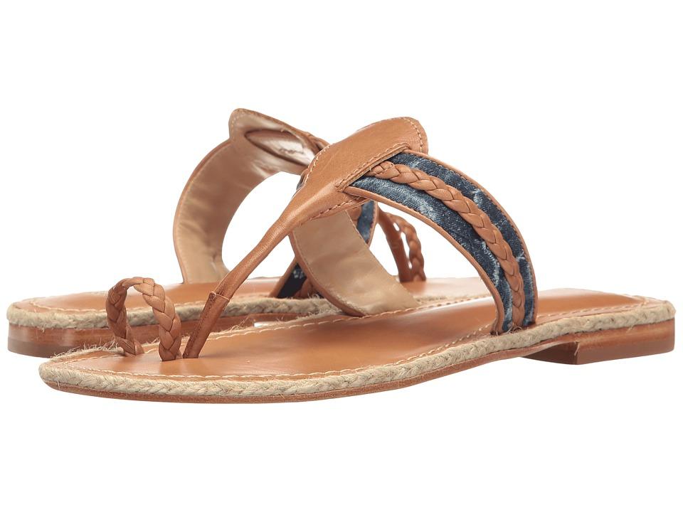 Johnston & Murphy - Wendy (Tan Soft Calfskin/Floral Print Denim) Women's Sandals