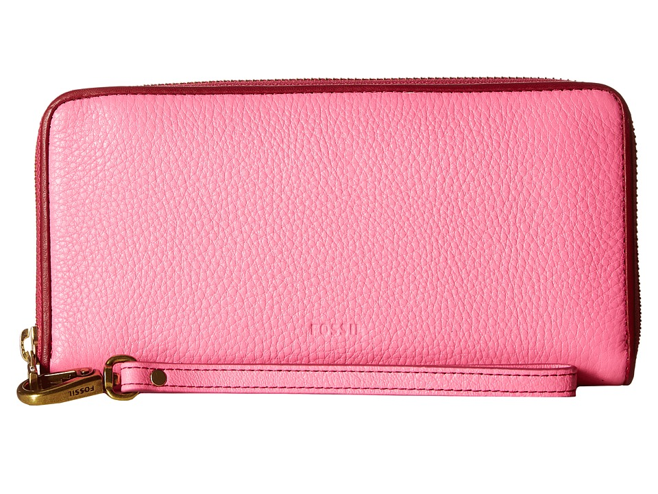 Fossil - Emma Large Zip Clutch RFID (Neon Pink) Clutch Handbags