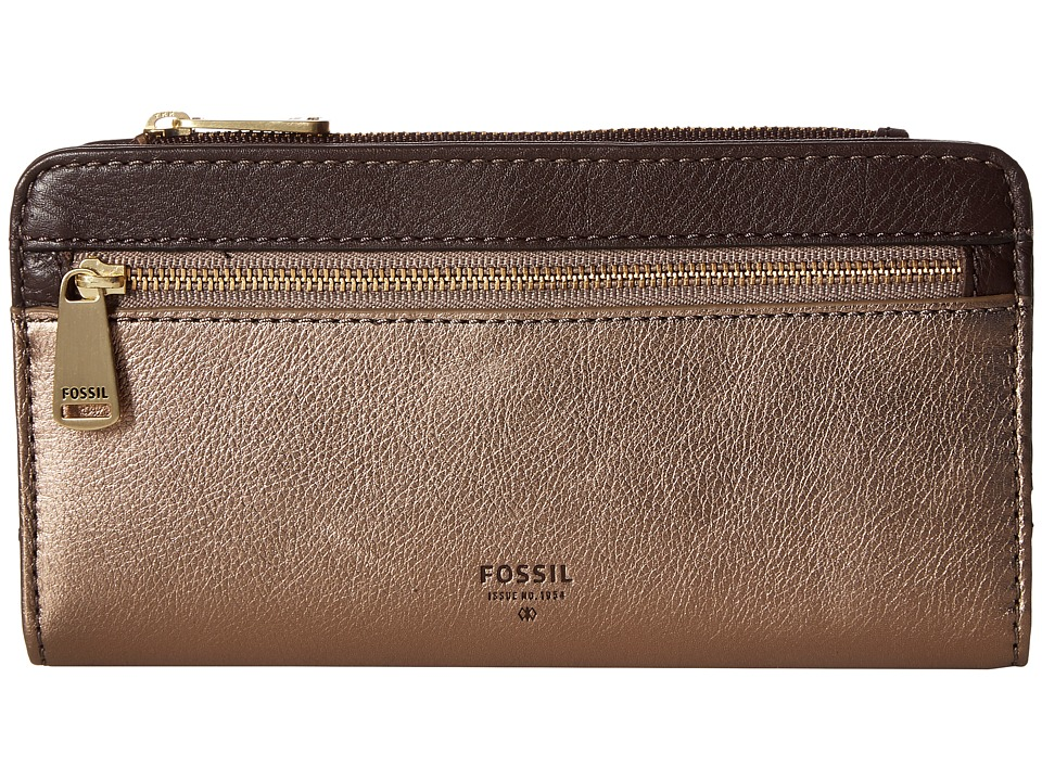 Fossil - Preston Clutch RFID (Taupe Metallic) Clutch Handbags