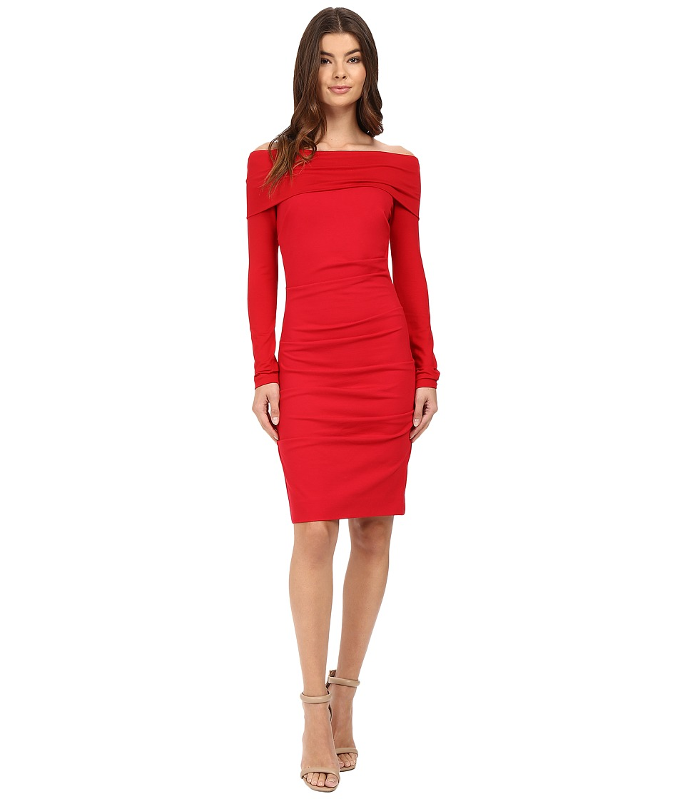 Nicole Miller - Ponte Off Shoulder Tucked Dress (Lipstick Red) Women's Dress