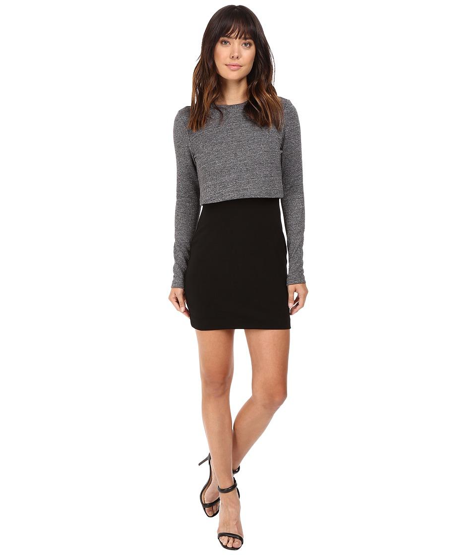 Nicole Miller Mock Neck Combo Dress (Grey) Women