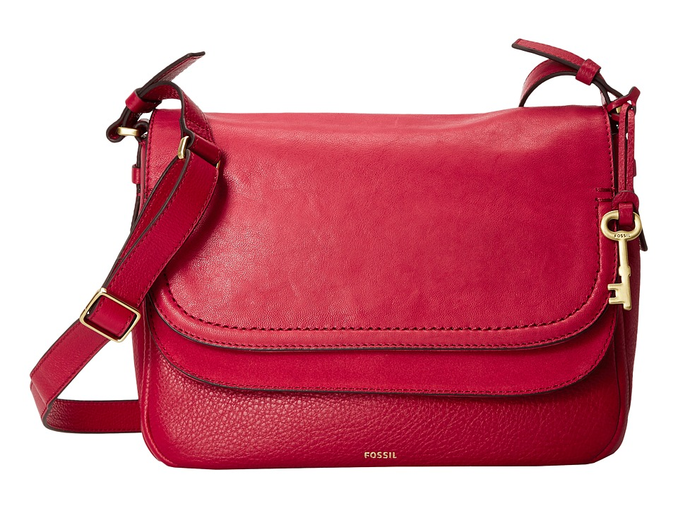 Fossil - Peyton Large Double Flap Crossbody (Crimson) Cross Body Handbags