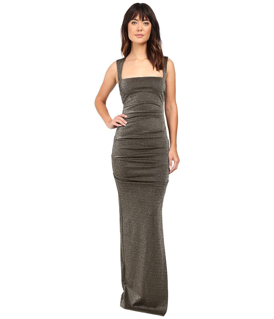 Nicole Miller Lurex Ponte Felicity Gown (Gold) Women