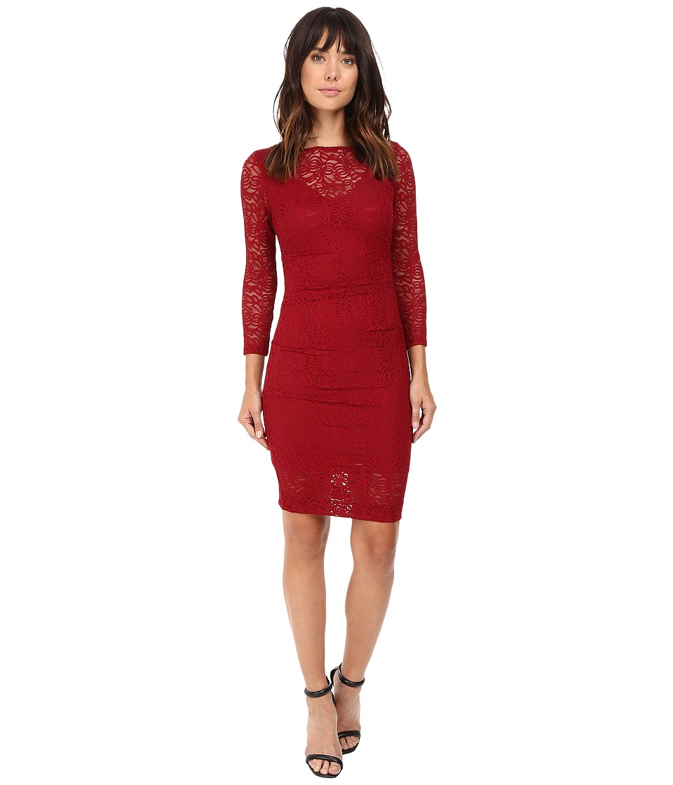 Nicole Miller - Swirling Rose Illusion V-Neck Lace Dress (Crimson Red) Women's Dress