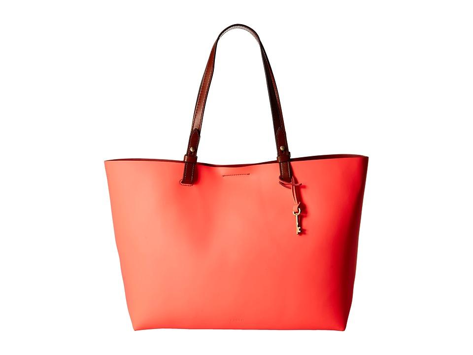 Fossil - Rachel Tote (Neon Coral) Tote Handbags