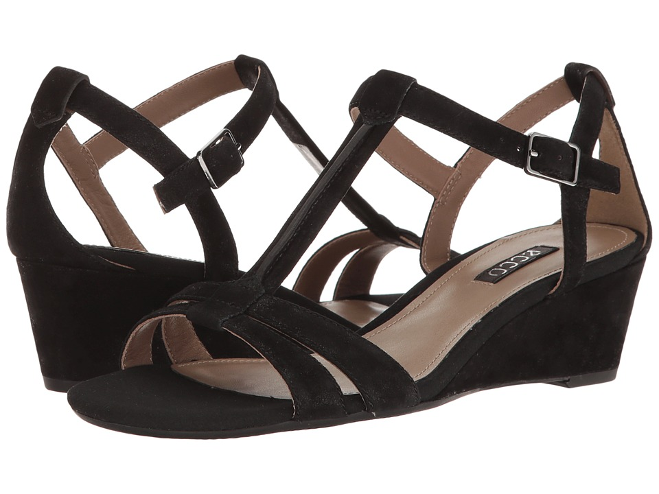 ECCO Rivas 45 T-Strap Sandal (Black Goat Suede) Women