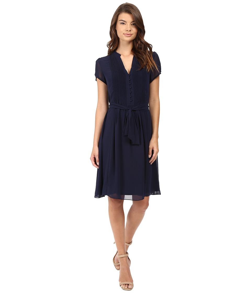 Christin Michaels - Liaden Shirtdress (Navy) Women's Dress