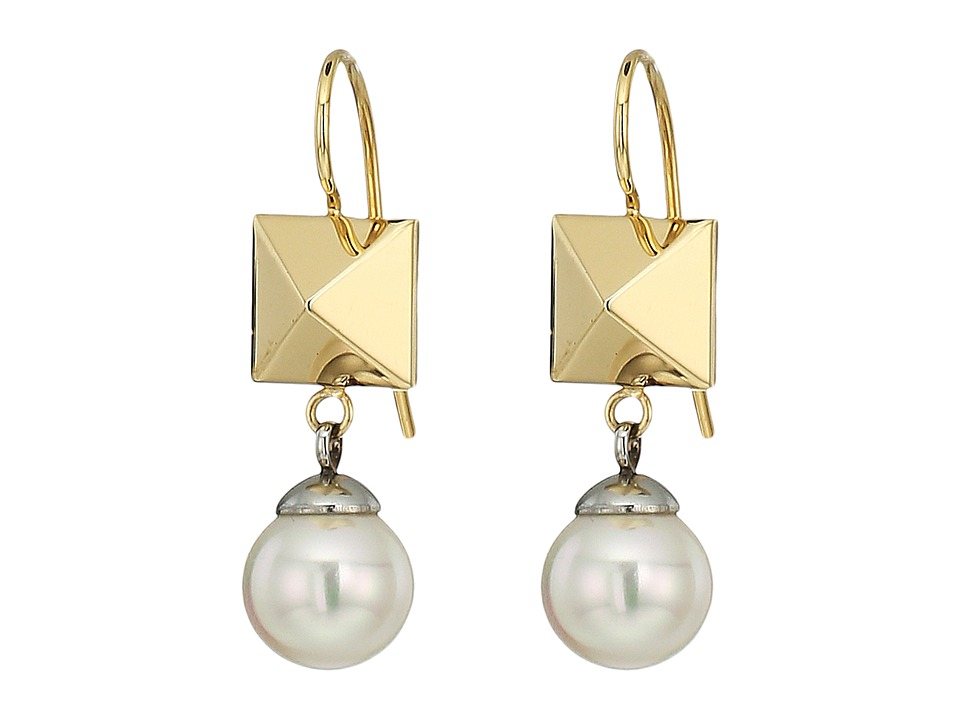 Majorica - Why Not? Two-Tone Frenchwire Earrings (White) Earring