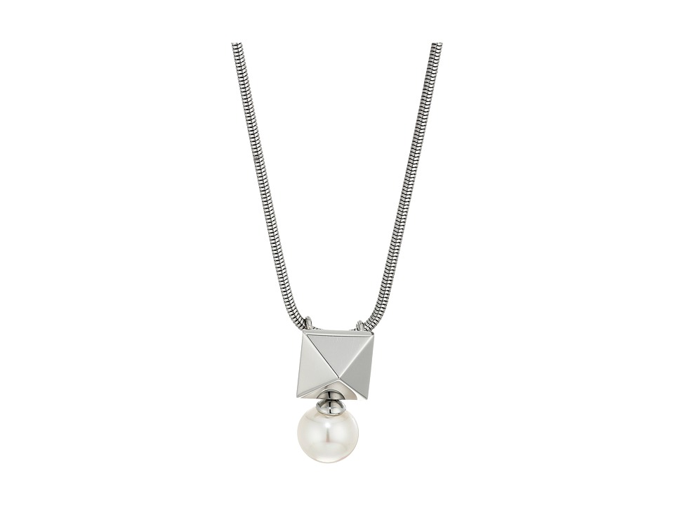 Majorica - Why Not? Silver Pendant (White) Necklace