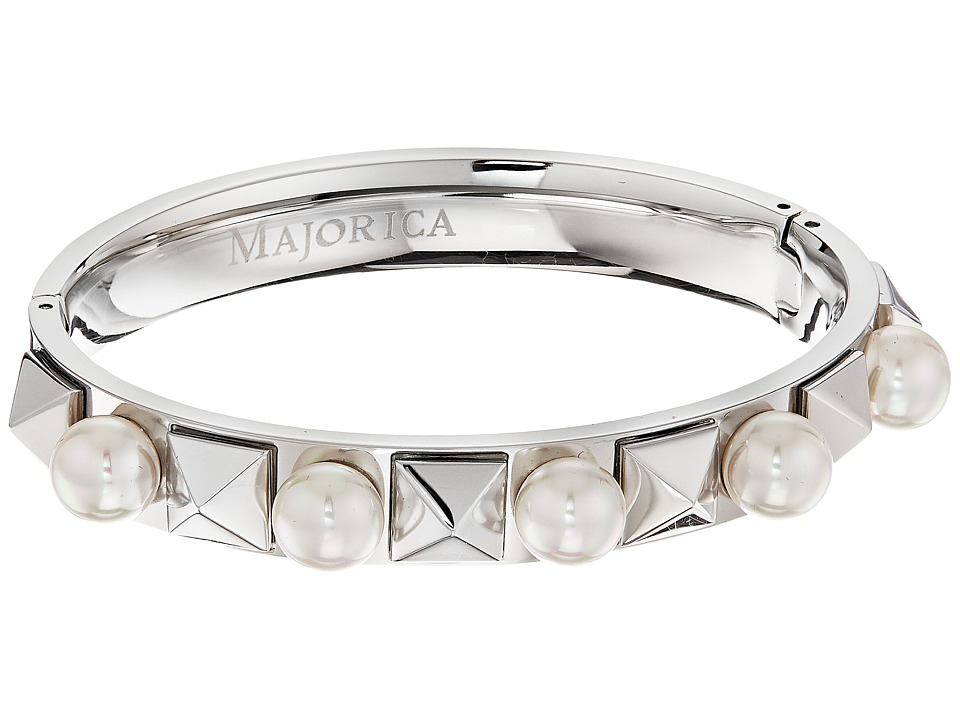 Majorica - Why Not? Silver Pyramid Bangle (White) Bracelet