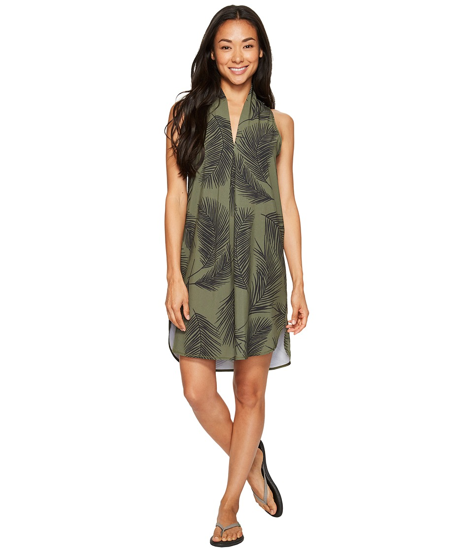 Lucy - Destination Anywhere Dress (Rich Olive Palm Print) Women's Dress