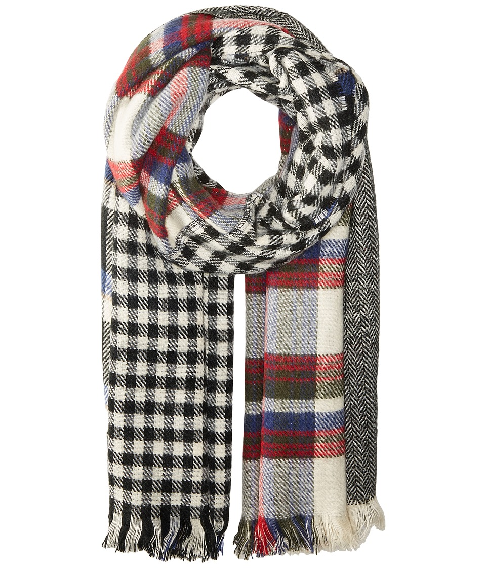 Steve Madden - Multi Facet Plaid Blanket Wrap (Red) Scarves