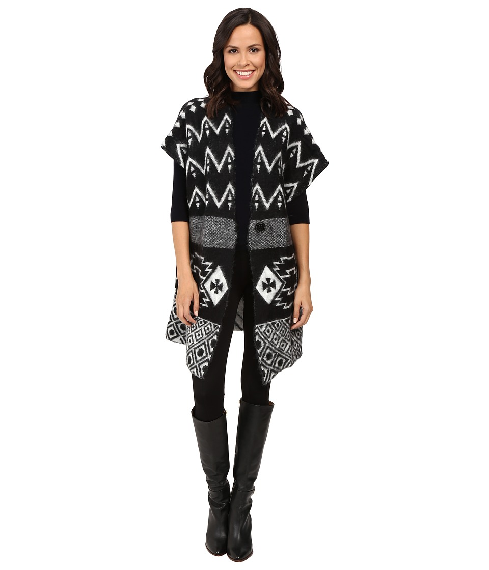 Steve Madden - Zigzag Motif Knit Topper (Black/Ivory) Women's Clothing