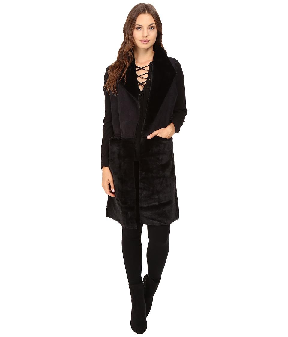 Steve Madden - Reversble Half Faux Fur Vest (Black) Women's Clothing