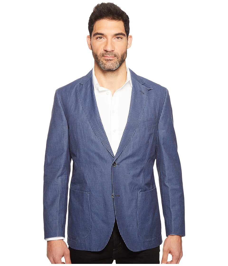 Kroon - Vintage Washed Bono Two-Button Blazer (Blue) Men's Coat