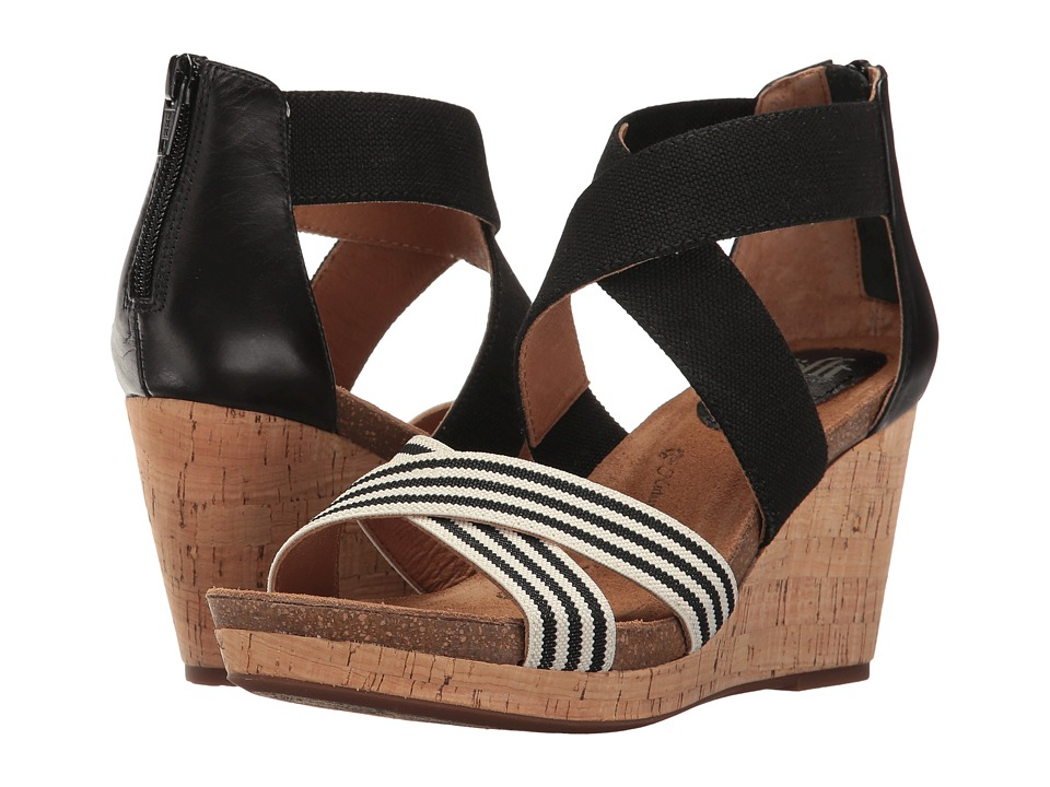 Sofft - Cary (Black/Black/White/Cow Quilin/Elastic) Women's Shoes