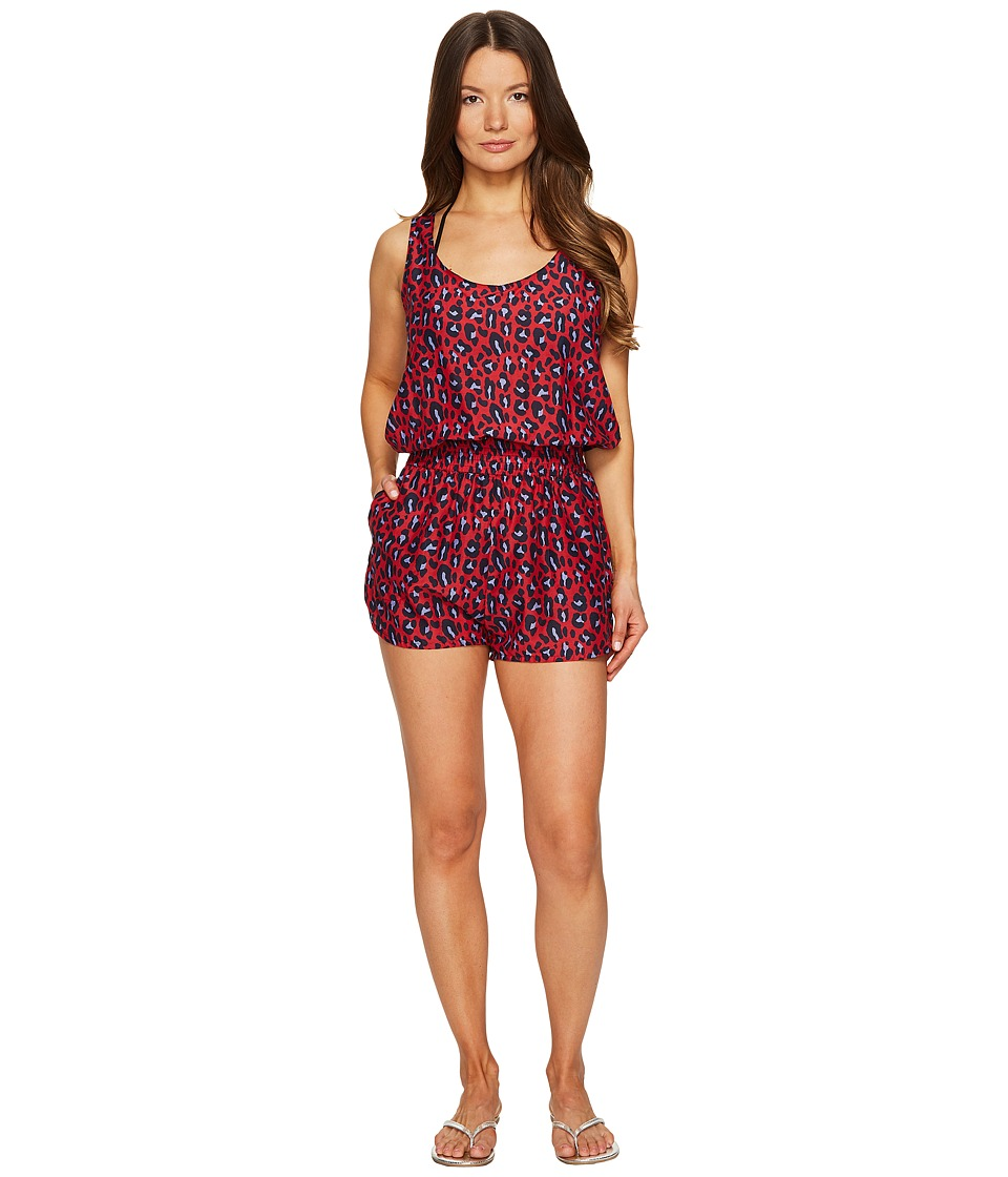 Stella McCartney - Leopard All-In-One Romper (Navy/Salsa Red) Women's Jumpsuit & Rompers One Piece