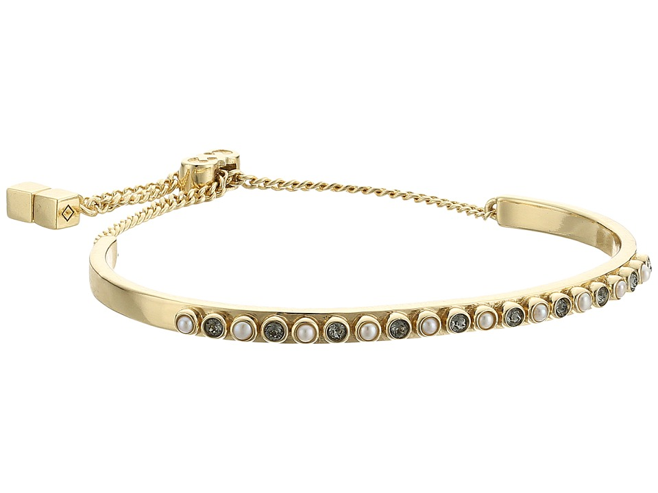Cole Haan - Pave Bar Pull Tie Bracelet (Gold/Black Diamond/Cream Fresh Water Pearl) Bracelet