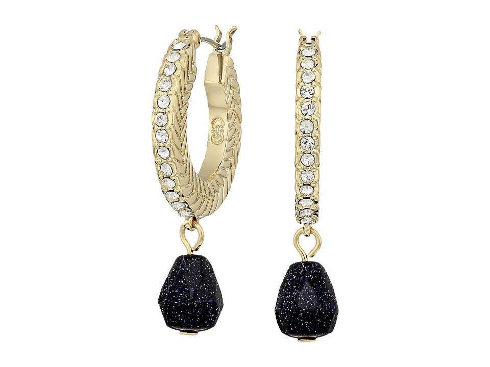 Cole Haan - Basket Weave Pave Stone Drop Huggie Earrings (Gold/Crystal/Black Goldstone) Earring