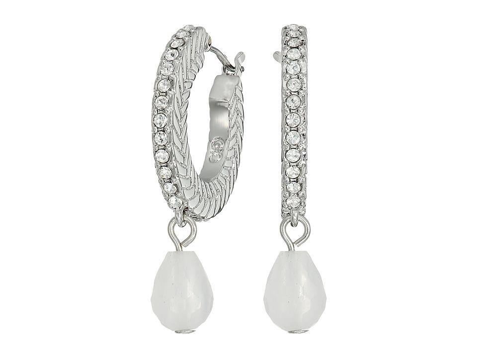 Cole Haan - Basket Weave Pave Stone Drop Huggie Earrings (Light Rhodium/Crystal/Moonstone) Earring