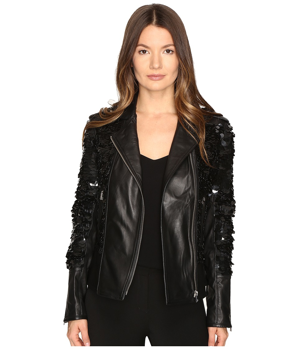 LAMARQUE - Sheryl Sequin Leather Biker Jacket (Black) Women's Coat