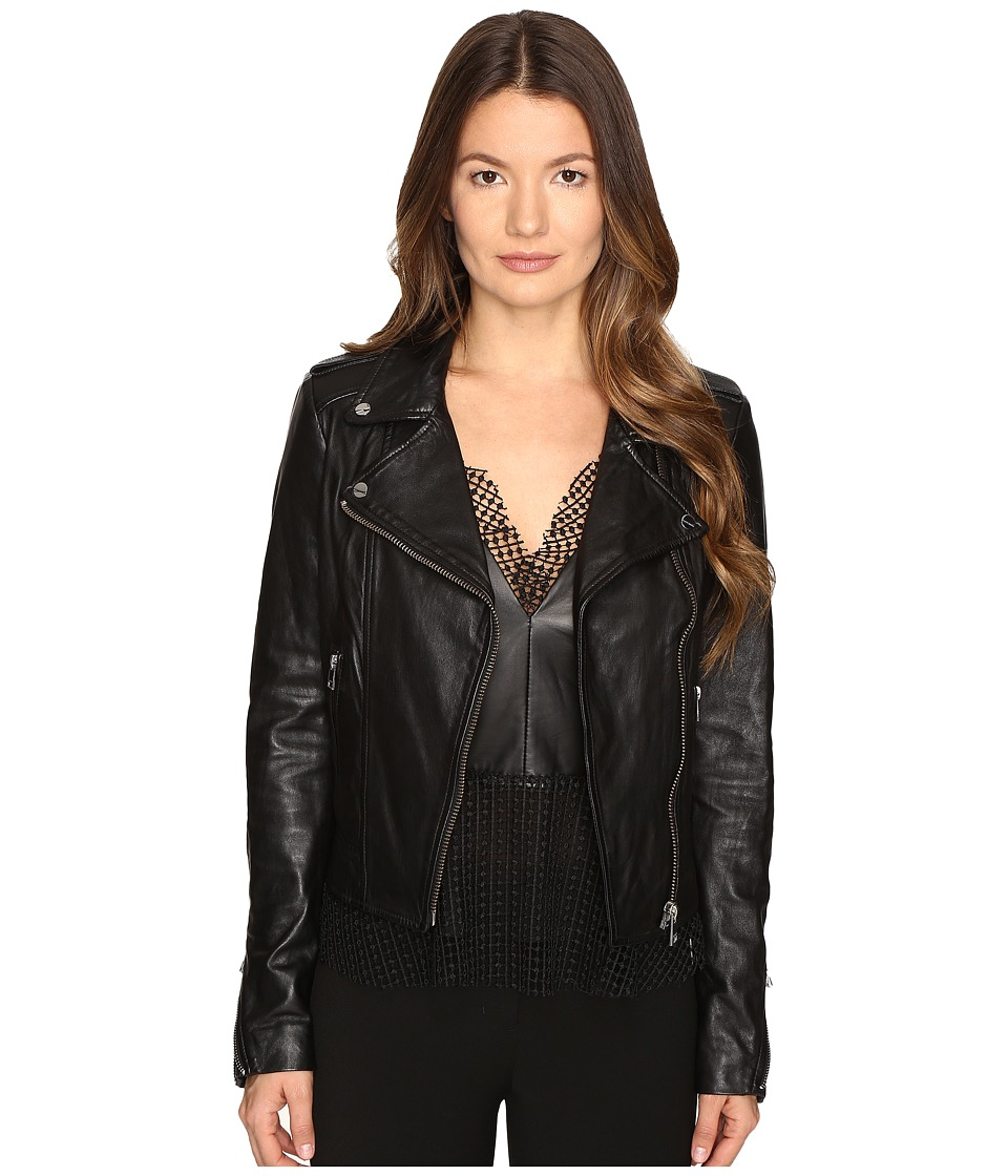 LAMARQUE - Donna-16 Leather Biker Jacket (Black) Women's Coat