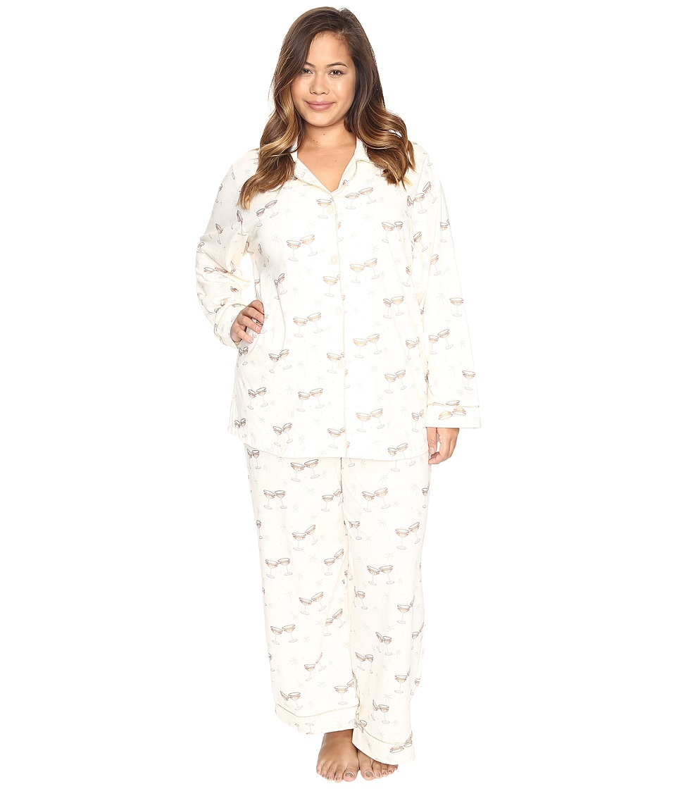 BedHead - Plus Size Long Sleeve Classic Pajama Set (Champagne Toast) Women's Pajama Sets