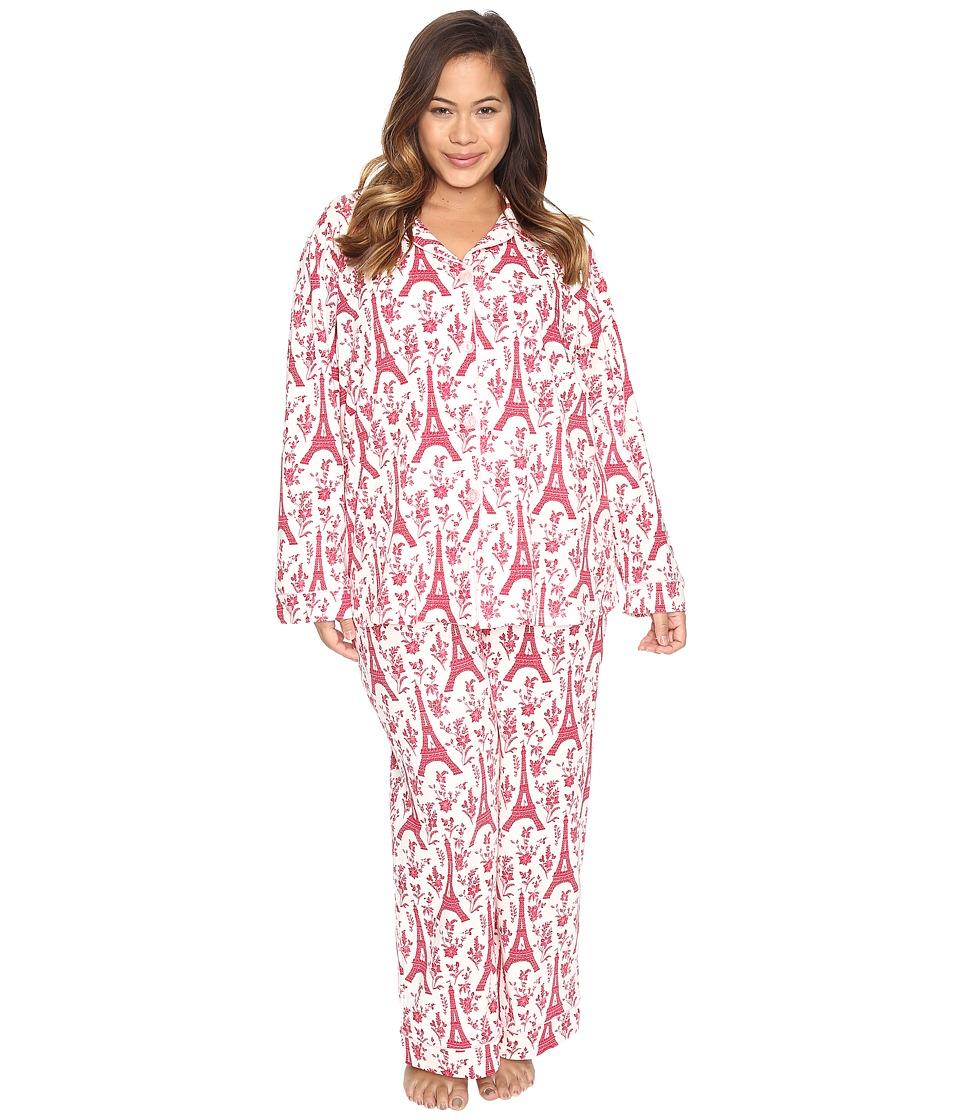 BedHead - Plus Size Long Sleeve Classic Pajama Set (Poinsettia Eiffel) Women's Pajama Sets