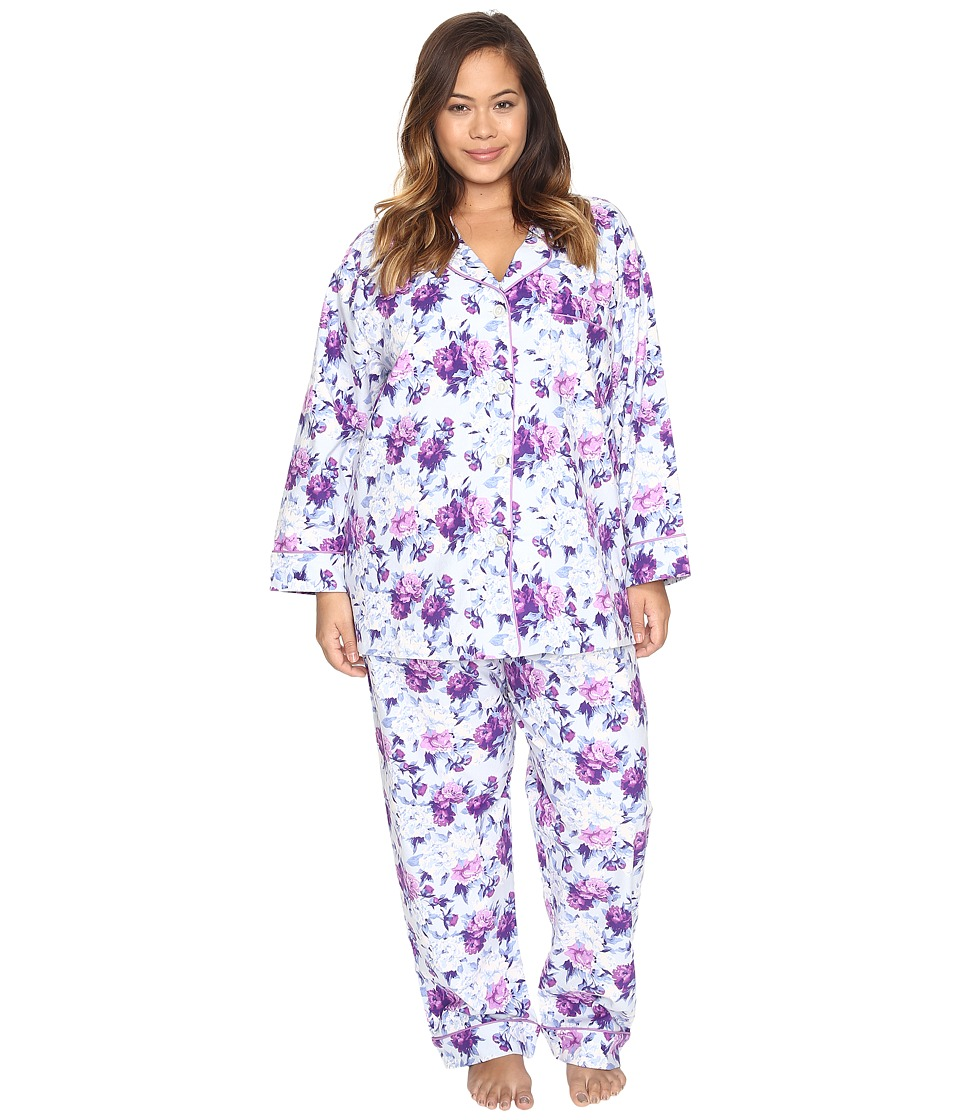 BedHead - Plus Size Long Sleeve Classic Pajama Set (Blue Ashes of Roses) Women's Pajama Sets