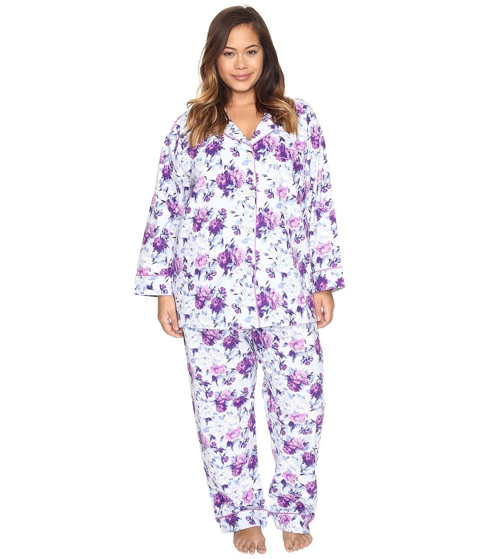 BedHead - Plus Size Long Sleeve Classic Pajama Set (Blue Ashes of Roses) Women's Pajama Sets