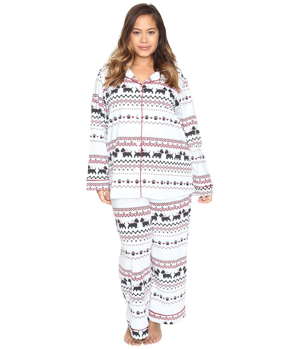 BedHead - Plus Size Long Sleeve Classic Pajama Set (Scottie Fair Isle) Women's Pajama Sets