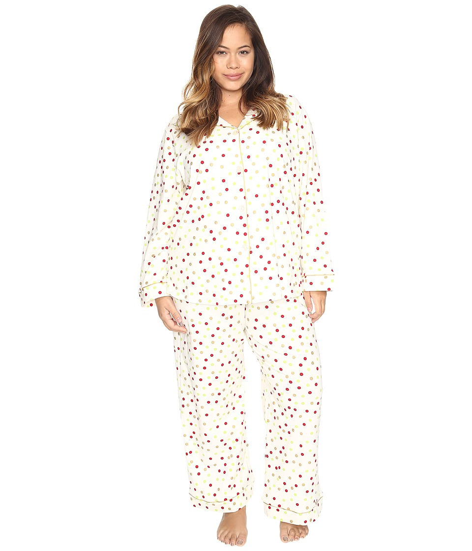 BedHead - Plus Size Long Sleeve Classic Pajama Set (Holiday Dot) Women's Pajama Sets