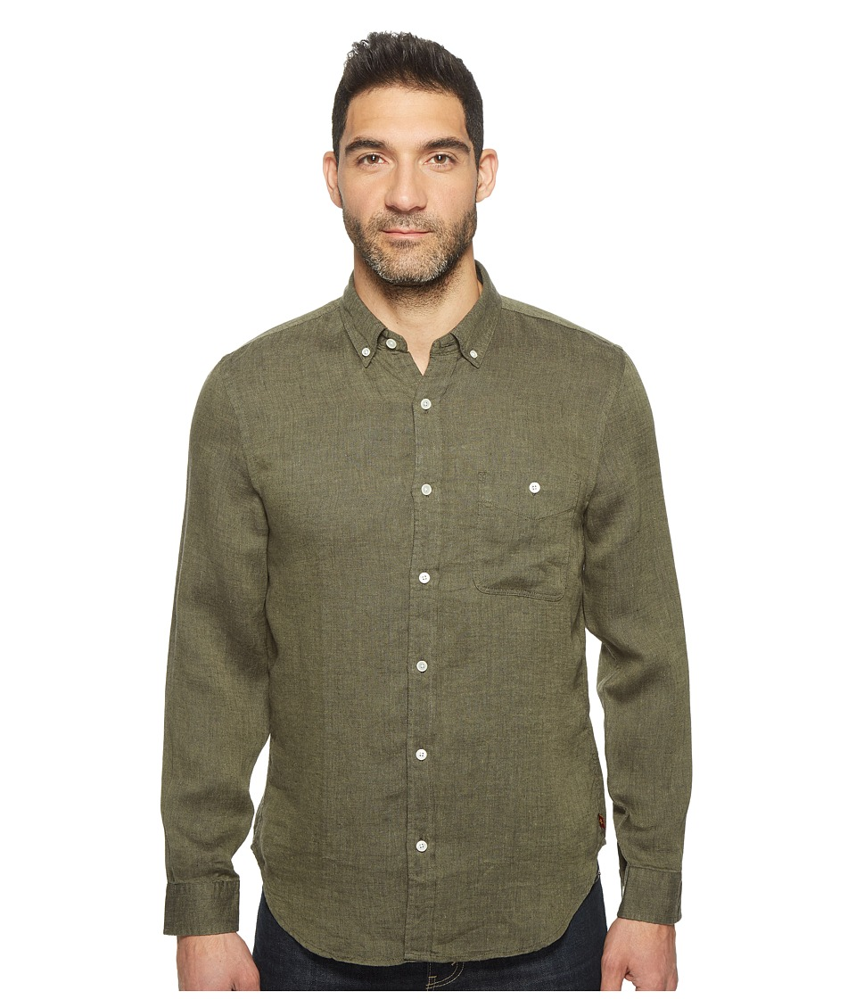 7 For All Mankind - Long Sleeve Linen Oxford Shirt (Olive) Men's Long Sleeve Button Up