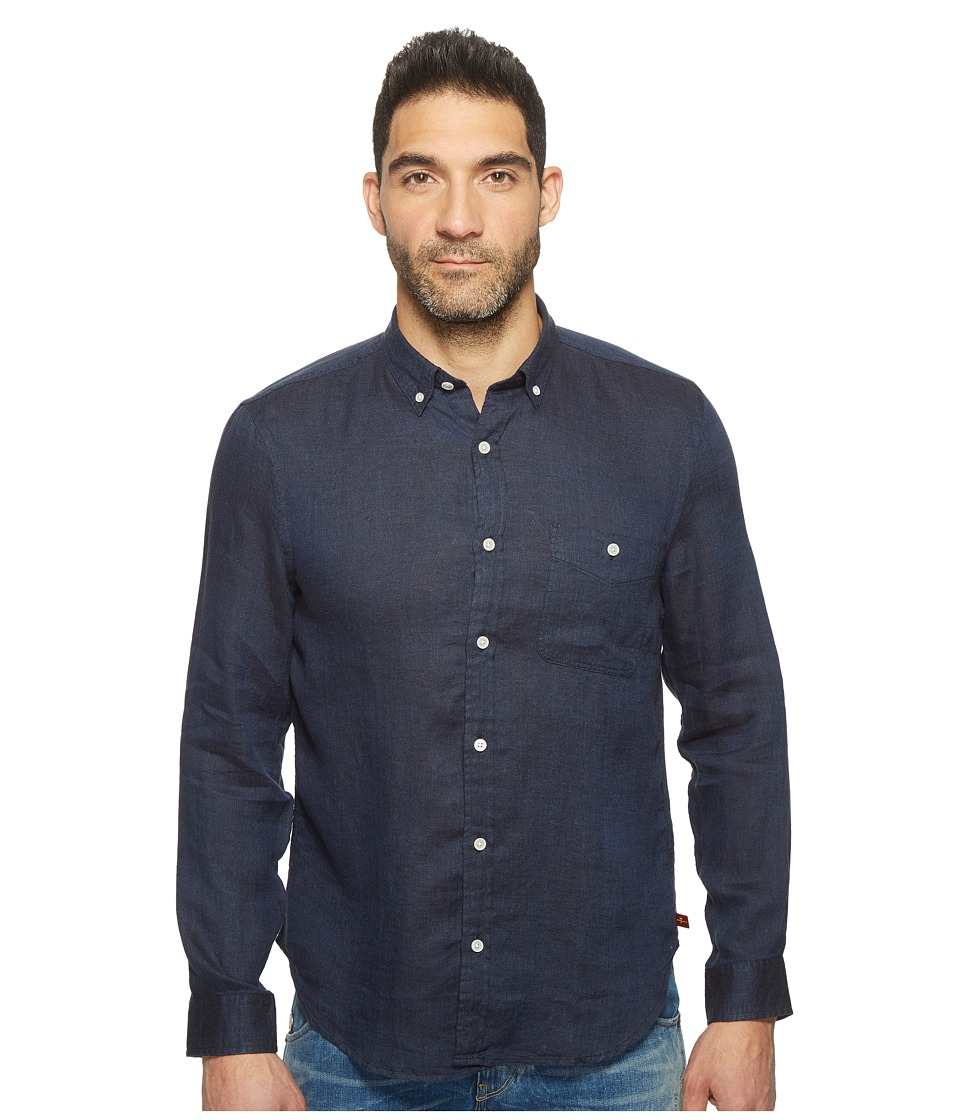 7 For All Mankind - Long Sleeve Linen Oxford Shirt (Navy) Men's Long Sleeve Button Up