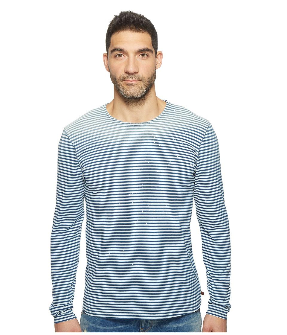 7 For All Mankind - Long Sleeve Mariner Crew (Navy/White Stripe) Men's Long Sleeve Pullover