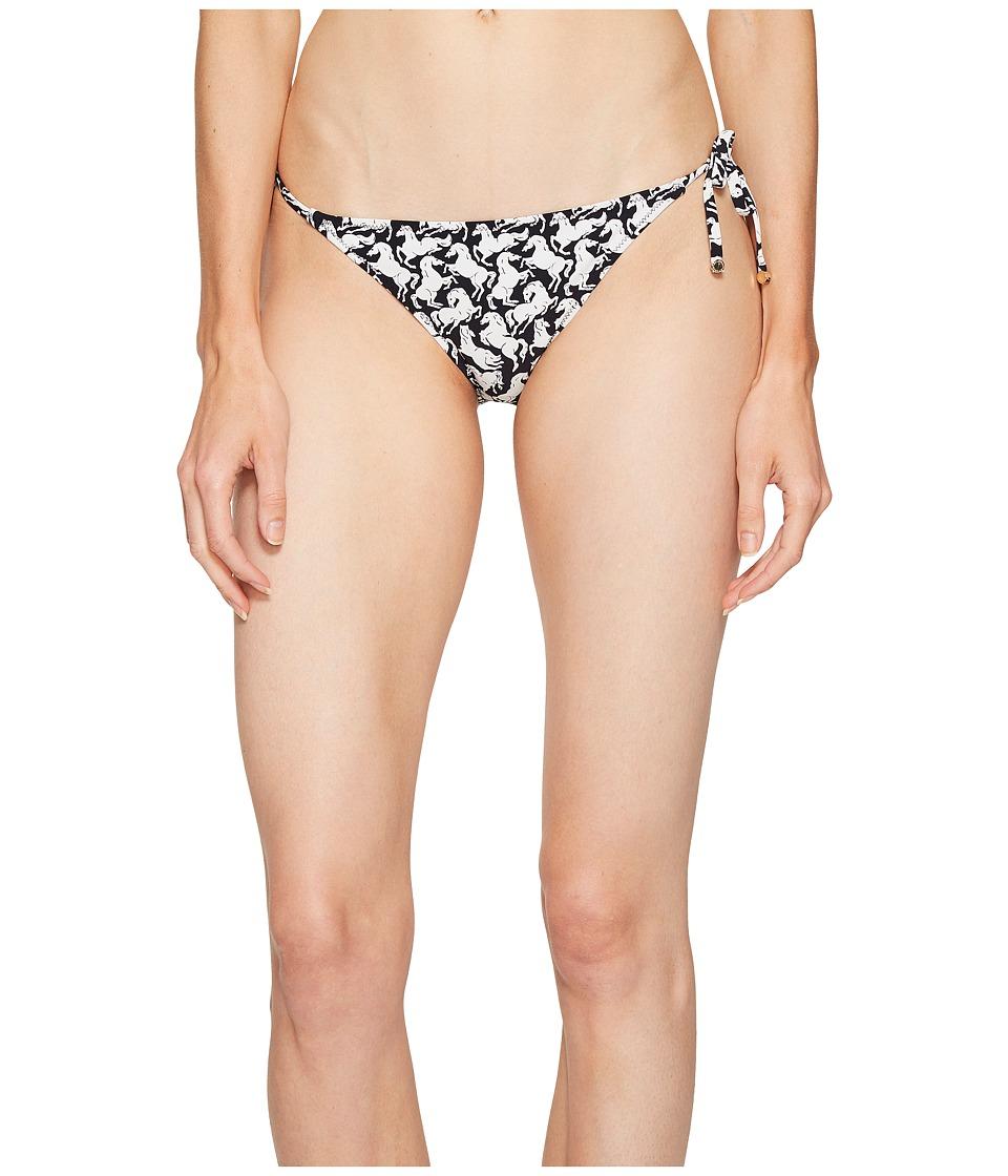 Stella McCartney Iconic Prints Tie Side Bikini Bottom (Black/White Horses Print) Women