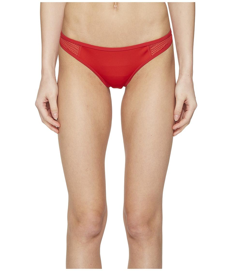 Stella McCartney Neoprene Mesh Classic Bikini Bottom Salsa Red Swimwear