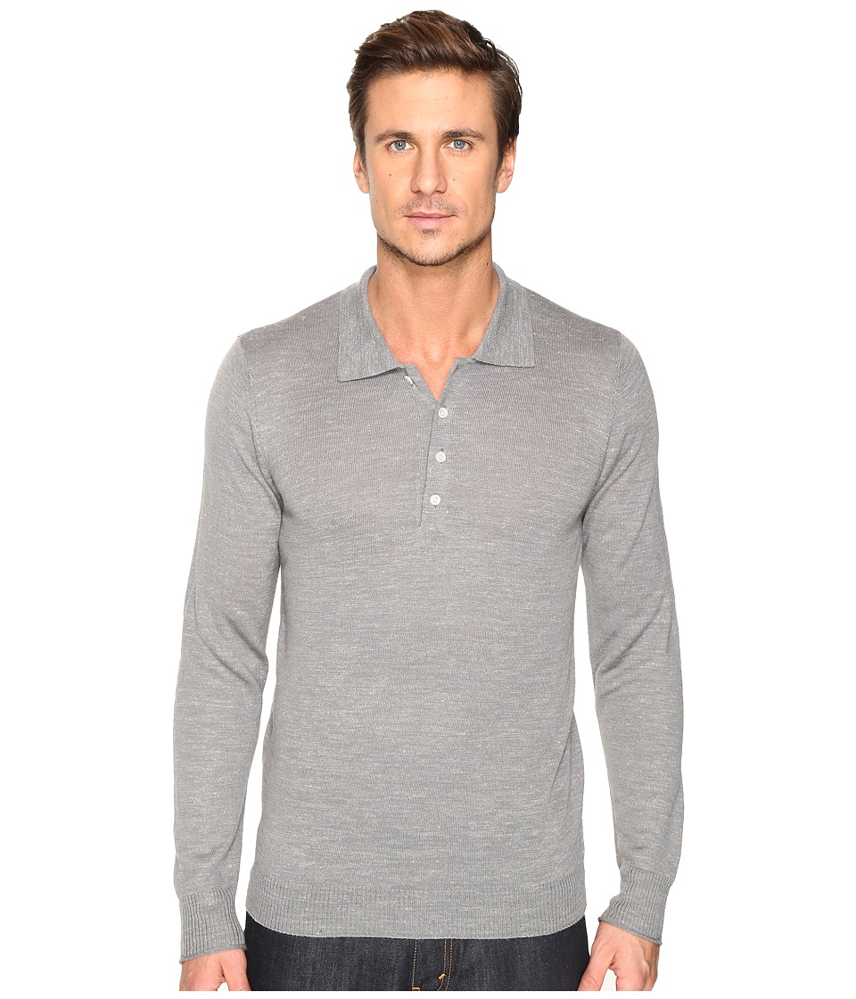 7 For All Mankind Long Sleeve Polo Sweater (Heather Grey) Men