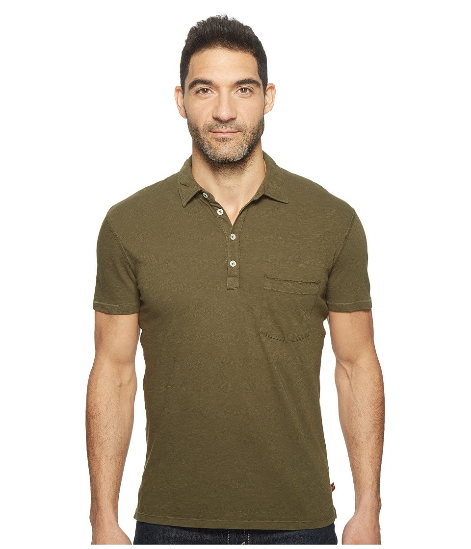 7 For All Mankind - Raw Placket Polo (Olive) Men's Short Sleeve Pullover