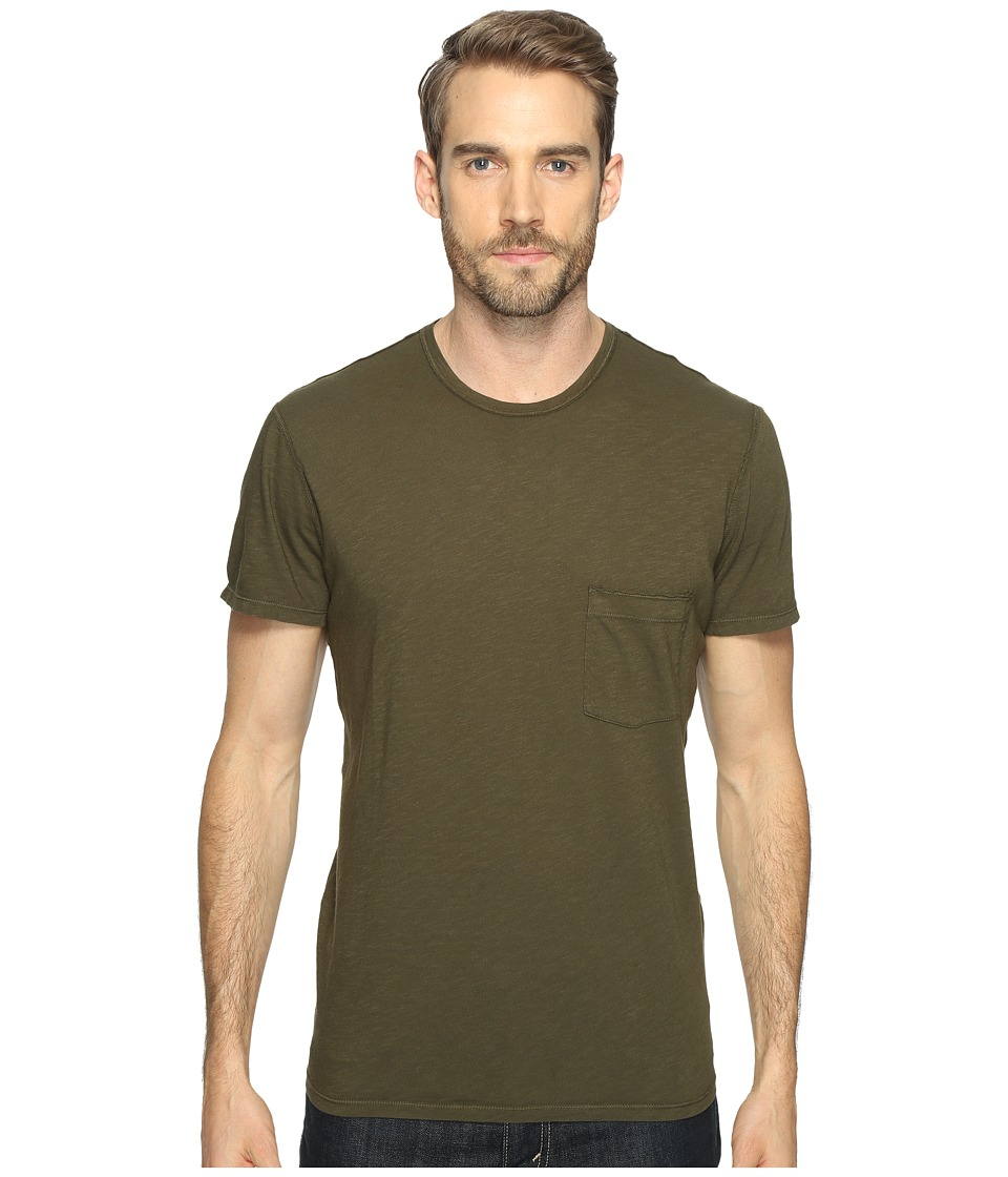 7 For All Mankind - Short Sleeve Raw Pocket Crew (Olive) Men's Clothing